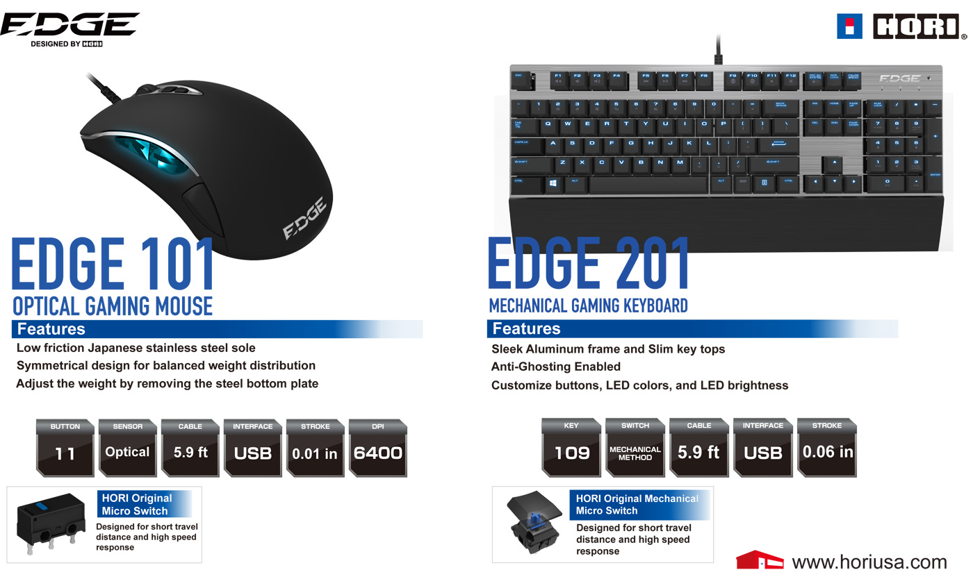 HORI EDGE 101 and EDGE 201